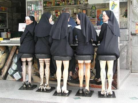 Nuns on Stools - Special stools were made, shocking the Monsignor & Bishop