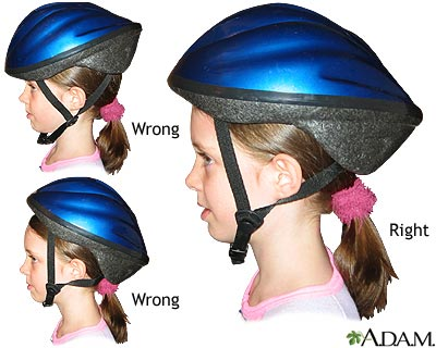 Helmets must fit properly - This shows how to fit the helmet properly on your childs head.