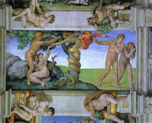 the fall of man - a painting of michelangelo