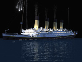 The GREAT TITANIC in its first n last voyage. - This pic shows the fantasis night view of the beauty.