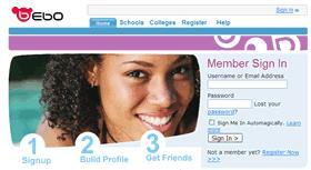 bebo - this is the bebo homepage
