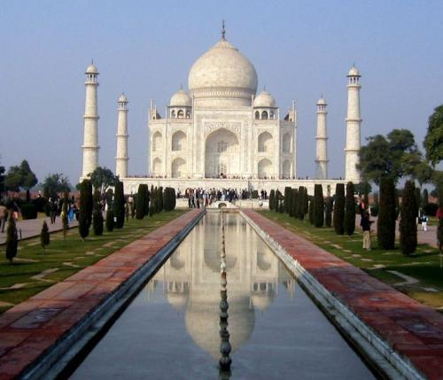 "What are the thoughts of you about Taj Mahal - The Taj Mahal (Hindi: ??? ???) is a monument located in Agra, India, at 27° 10'28.67""N, 78° 2'32.05""E, constructed between 1631 and 1654 by a workforce of 22,000. The Mughal Emperor Shah Jahan commissioned its construction as a mausoleum for his favourite wife, Arjumand Bano Begum, who is better known as Mumtaz. The Taj Mahal (sometimes called ""the Taj"") is generally considered the finest example of Mughal architecture, a style that combines elements of Persian, Indian and Islamic. The Taj Mahal has achieved special note because of the romance it inspires. While the white domed marble mausoleum is the most familiar part of the monument, the Taj Mahal is actually an integrated complex of structures."