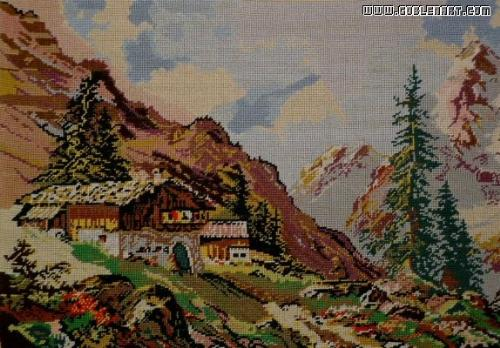 Mountain landscape - this is a gobelin hand made