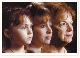Aging - Here is a picture of a woman aging throught out her life.It startes with her at a young age the progressses to her age now.It shows the stages of aging.