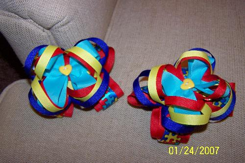 Autism Awareness Bows - Boutique hair bow, pigtail set, to help create autism awareness.