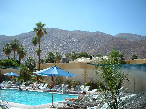 palm springs pool misting bathers trees loungers c - palm springs pool misting bathers trees loungers chairs