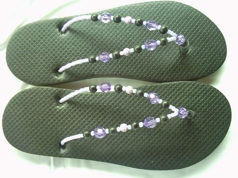 slippers - black beaded slippers
