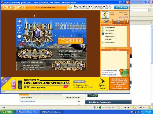 Jewel of Atlantis - This is a neat puzzle computer game that you can download from the Aol Games website.  It is very addicting and challenging and fun to play.  I am definitely hooked on this game.