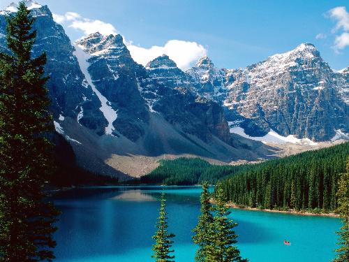 Moraine Lake - A photo of a Moraine Lake and Mountain range in Canada, looks wonderful and what dreams are made of!