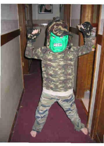 Son at halloween....hulk goes commando - My son playing in a hulk mask.  He loves the cammo clothes, and it just seemed to fit.