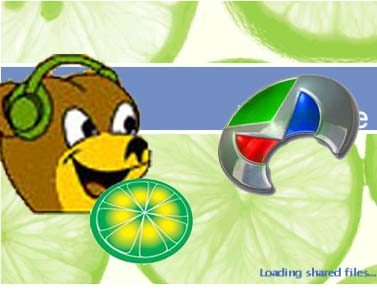 P2P logos - Bearshare, Limewire and Morpheus