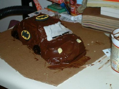 the batmobile cake - Wilson car cake pan, Batman themed birthday cake