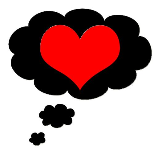 thinking of love - a heart in a thought bubble