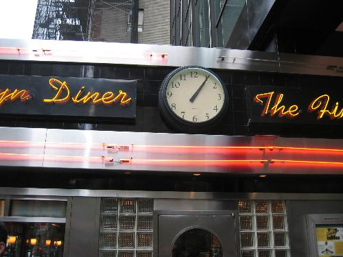 time to speed up my learning curve - Brooklyn Diner...a great 'tag' in NY..with a clock to help me speed up the time...lol