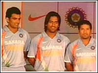 new WC jersey for team india - Team India's World Cup jersey was unveiled in Mumbai on Tuesday. Nike was given the contract for dressing the Men in Blue last year.   Rahul Dravid's men were at a function in Mumbai, displaying the jersey they will sport during India's cup campaign. Nike claims that the new apparel is 15 per cent lighter than the earlier one and is capable of keeping body temperatures down to comfortable levels.  India leave for the West Indies on March 1 and the team plays its opening match against Bangladesh on March 17.