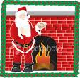 Santaclause - A man dressed in a santaclause outfitkeeping himself warm infront of a fire place.The feeling of christmas is spread all arround.