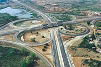 BMIC PROJECT - The photo shows the clover leaf pattern interchange on bangalore mysore express highway and the peripheral ring road between mysore road and hosur road