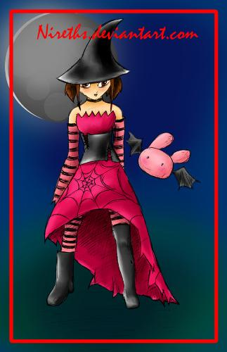 Pink Halloween - Just a picture I drew for a contest. Halloweened theme and a bunny bat.