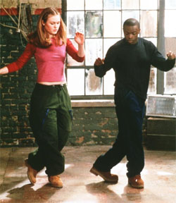 save the last dance - This is one of the scenes where Julia stiles Is learning some dance moves off Derek so she doesnt make herself look silly the next time they go to a club.