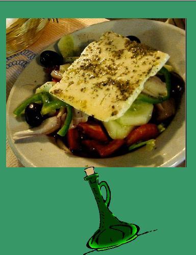 Greek Salad Dressing - Greek Salad and Dressing Bottle