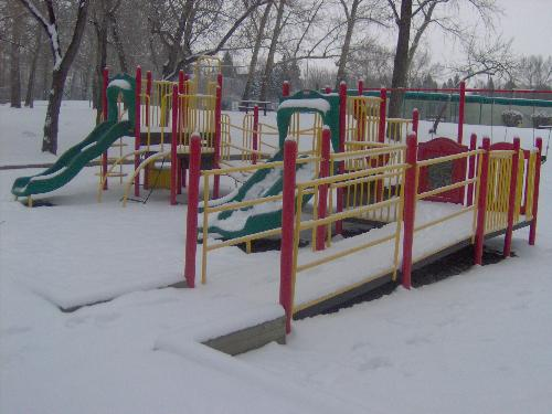 Missing kids - A lonely playground that is waiting for Spring and kids to return. Won't be long now