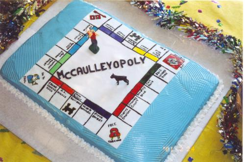 """80th Birthday Cake - This cake was measured 12"""" by 18"""" and was decorated by painting on rolled fondant with food coloring. Each square was named after a family member, and finished with a golfer on top and a little dog figurine to make it extra special."""