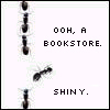 Bookstore icon - Book-loving ant jumps out of line to go investigate a bookstore.  I love books!