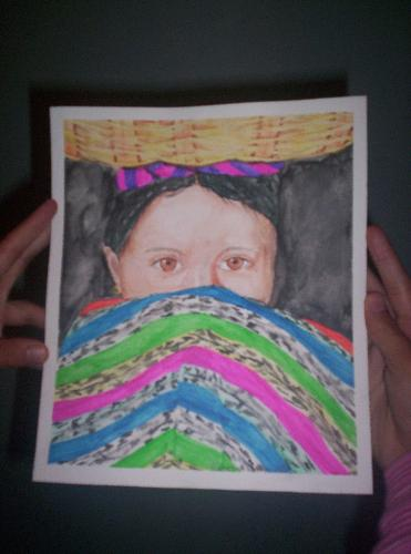 One of my watercolors - A shy Mayan girl.