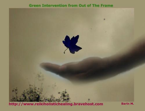 The Green Intervention - Using a blown leaf, here photoart has tried out to show a green intervention to pick up the blown leaf!