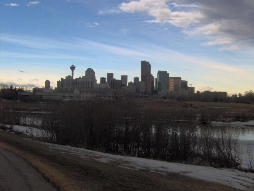 Calgary downtown skyline... - Pretty wild looking sky early this morning this is our world famous Chinook Arch forming, that will increase the temperature in a matter of hours.