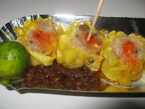 Siomai - These are siomai in chili with soy sauce and calamansi (Philippine Lemon).
