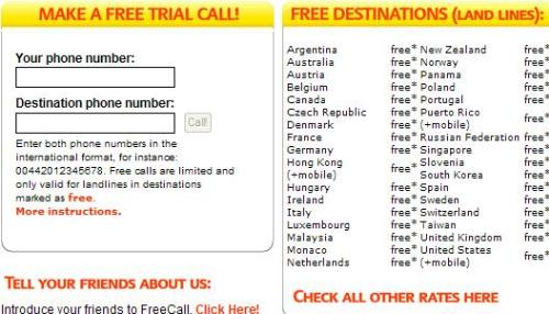 freecall - Call the world almost for free , and there is totally free destinations.