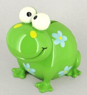 Put money in me? - A picture of a cute green froggie coin bank. Encourages good saving habits.