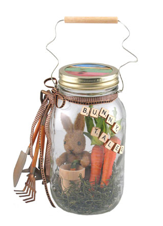 Springtime Bunny - I found this on the Ball Canning website. Wanted to share it with you. I am going to make a special trip the to the hobby store today to get the parts I need. :)