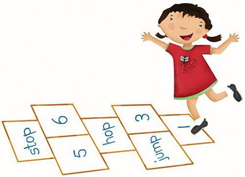 hopscotch - a child playing hopscotch