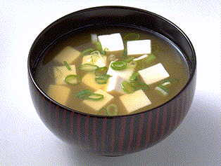 Miso Soup - Miso soup is a traditional Japanese soup consisting of a stock called dashi that is mixed with miso paste and served with cubed or sliced bean curd.