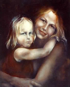 mom and daughter - a painting of a mother and a daughter