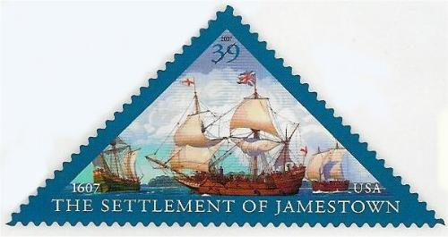 New US triangle stamp - This image is of the new US triange stamp to be issued May 11th commemorating the founding of Jamestown in 1607.