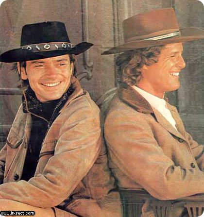 "Alias Smith and Jones - This is a promotion photograph for the tv show ""Alias Smith and Jones"" - an old western comedy from the last century."
