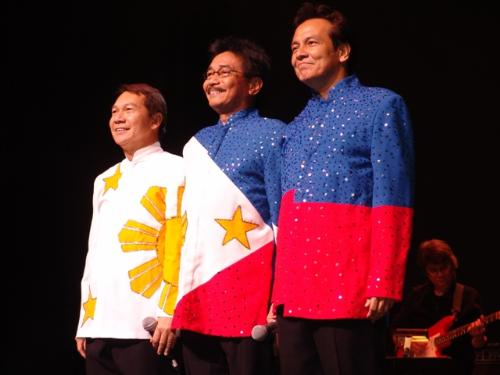 opm - original pinoy music, apo hiking society in philippine flag designed barongs