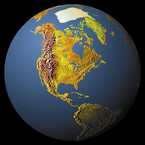 world map - geograohical map of noth america whit mountains