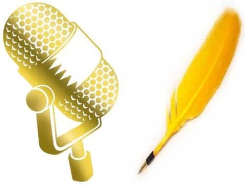 Can you speak or write better? - A picture of a microphone and a quill.