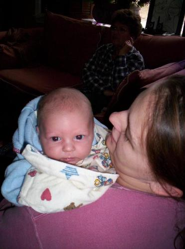 my 7 week old son jr. - this is a picture of my beautiful 7 week old son when he was 5 weeks old. look how alert he was.