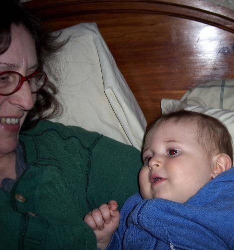 Giovanni and me  - Gio snuggling with his gran..me