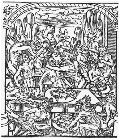 The Seven Deadly Sins - Indulgence in pleasures of the flesh paved the road to damnation. Gluttons, for example, were forced to gobble down toads, rats, and snakes, as revealed by this fifteenth-century French illustration. DOVER PUBLICATIONS, INC.