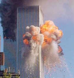 Twin Towers burning . - Twin towers were struck by two planes and fell down and took lives of many people