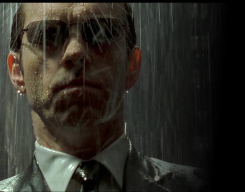 Agent Smith - This photo is a shot from The Matrix Revolutions of Agent Smith standing in the rain.