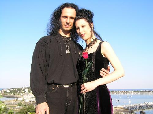 Our wedding day - This is a picture of our gothic wedding. Hull Massachusetts at a place by the ocean called Fort Revere. 2005