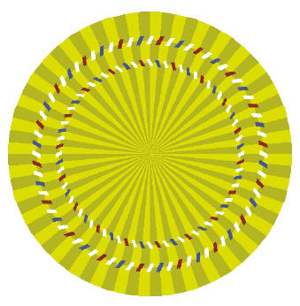 brain teaser - Stare at the center of the circle, move your head back and forth towards the monitor and away from it. The circle appear to slide back and forth..