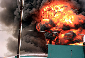 Fireball over Adelaide - A fireball erupted over Adelaide today, as a piant factory exploded.